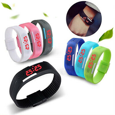 Men's Women's Striking Silicone Red LED Sport Bracelet Touch Digital Wrist Watch