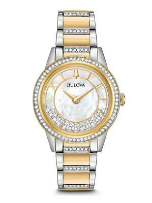 Bulova Crystal Turnstyle Mother of Pearl Dial Two-Tone Ladies Watch~98L245~NEW