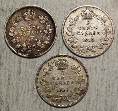 Lot of 3 Canada Silver Five Cents, 1906, 1910 & 1920, Nice Circulated  1028-03