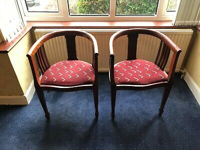 A pair of Antique Edwardian mahogany Sheraton revival tub chairs exc condition