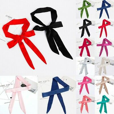 Women Skinny Silk Satin Scarf Long Slim Ribbon Belt Thin Tie Neck Bag Wrist Band