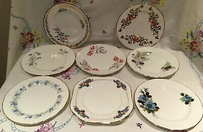 *8 Pretty Vintage Mismatched 🌷 Floral Bone China Tea Set Tea Cake Side Plates*
