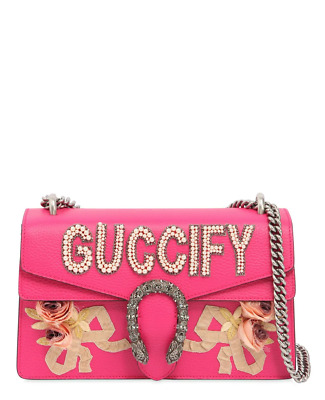 d75786ad82a GUCCI FUCHSIA LEATHER Guccify Dionysus Small Shoulder Bag  5400 ...