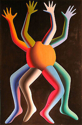 Mark Kostabi Large 72 x 48 Original Acrylic on Canvas Painting Contemporary Art