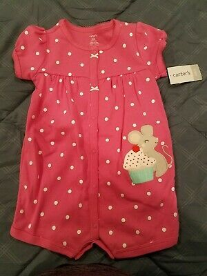 351c07be4e9 BABY GIRL CARTERS Snap Up Romper One Piece Pink Stripe   Mouse 9 ...