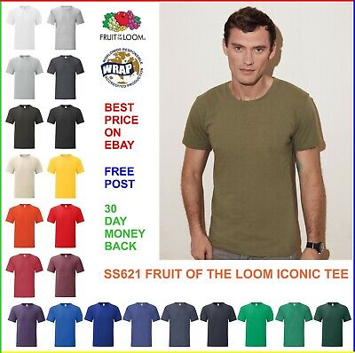 PLAIN 100% COTTON T-SHIRT, Fruit of the Loom ICONIC Soft Slim Fashion Fit TEE