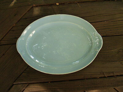 Beautiful blue LuRay Lu-Ray oval platter with scallop details on handle