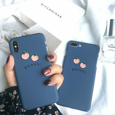 For iPhone 7 7Plus 6 6S Plus 8 8Plus X Cartoon Blue Peach Hard Shell Phone Case