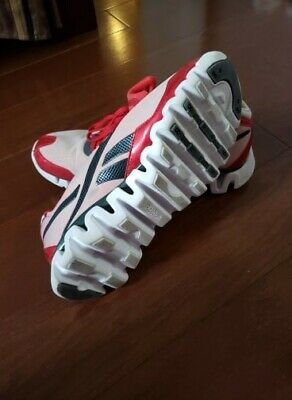 REEBOK ZIG TECH Red White Material Lace Up Athletic Sneaker