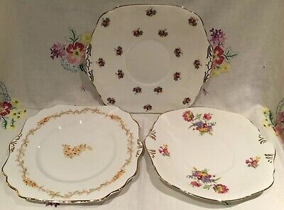*3 Beautiful Vintage Ditsy Floral Large Tea Set Cake Sandwich Serving Plates*