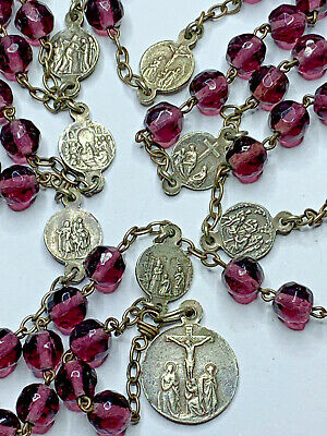 † Scarce Htf Antique Silver Seven Sorrows Purple Faceted Glass Chaplet Rosary †