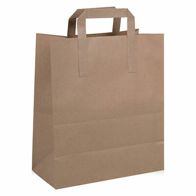 Kraft Paper Brown Medium Sos Food Carrier Bags With Handles Party Takeaway