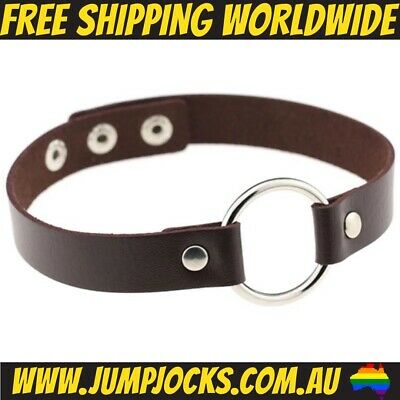 Brown Leather Bondage Collar - Fetish, Choker, Gay, Toy*FREE SHIPPING WORLDWIDE*