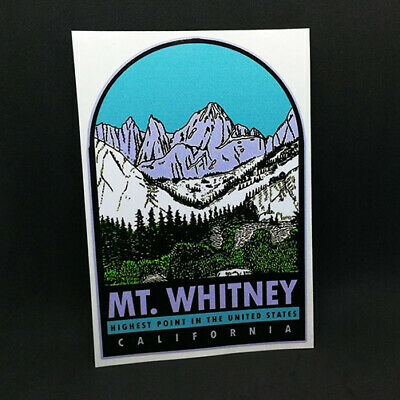 Mt. Whitney California Decal, Vintage Style Vinyl Sticker, Luggage Label