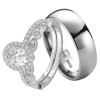 New His And Hers Titanium /925 Sterling Silver Wedding Engagement Ring Set