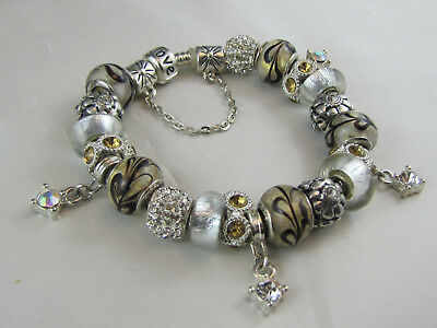 "BEAUTIFUL 925 SILVER STAMPED 20cm EUROPEAN STYLE CHARM BRACELETS ""NEW YORK NICE"""