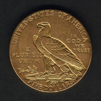 U.S.A. 1908 Gold 5 Dollars - Half Eagle..  gEF - Part Lustre