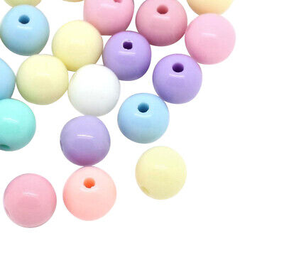 ❤ Mixed ROUND Acrylic PASTEL Spacer Beads  6mm 8mm Jewellery Making ❤