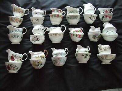Various Vintage Bone China Milk Cream Jugs & Sugar Bowls Basins