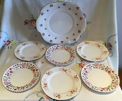 *pretty Vintage Mismatched 🌸 Pink Floral Bone China Tea Cake Plate Set*