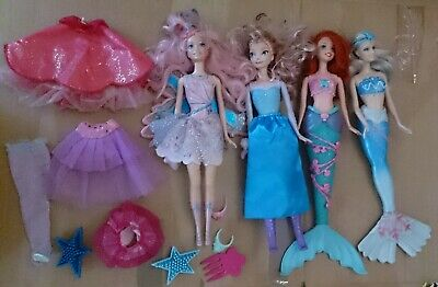 4x Barbie Dolls DISNEY PRINCESS Mermaid Fairy Ariel Elsa CLOTHES Tiara TOYS LOT