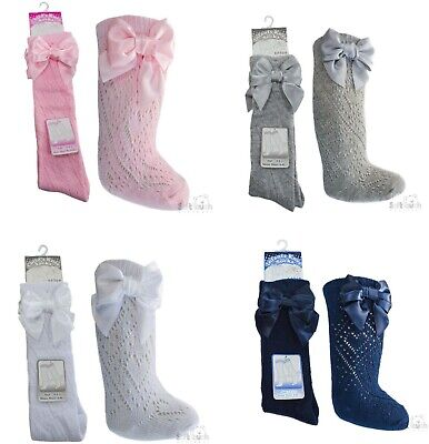 Baby Girls Pelerine Spanish Style Knee High Socks With Ribbons - 2/3 . 3/6yrs