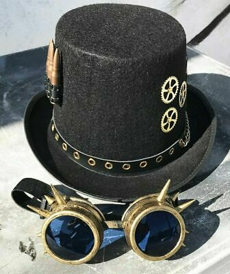 13027fce06a22d STEAMPUNK HAT and Spike GOGGLES Set - 2 pc Black Felt Steampunk Top Hat  Spike