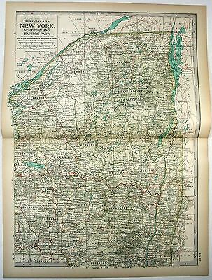 Original 1897 Map of Northern & Eastern New York State by The Century Co