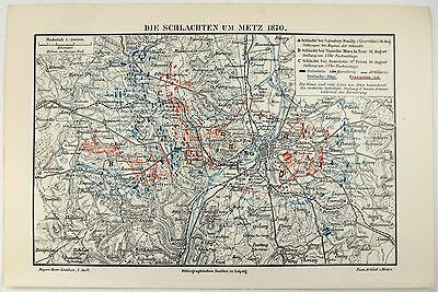 Antique Map of the Battle of Metz France by Meyers. Antique