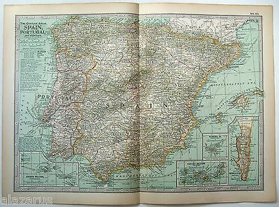 Original 1902 Map of Spain, Portugal & Andorra by The Century Company. Antique
