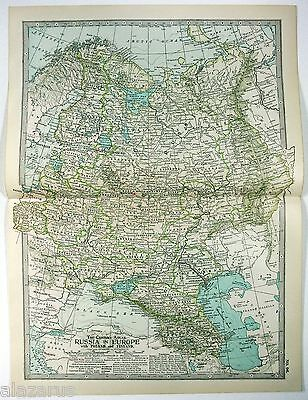 Original 1902 Map of European Russia by The Century Company. Antique