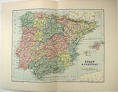 Original 1895 Map of Spain & Portugal by  W & A.K. Johnston. Antique