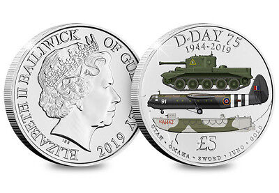 75th anniversary of D-Day coloured Five Pound Coin, Guernsey £5 bu in capsule.