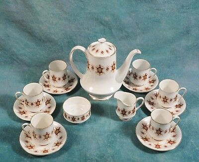 Paragon Flamenco Chocolate Coffee Set Tea Cup Saucers Pot