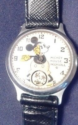 Vintage  1930's Ingersoll Disney Mickey Mouse Animated Wrist Watch