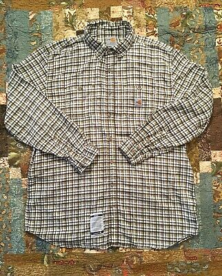 588ee4bc426 CARHARTT NEW! Flame Resistant ATVP 9.5 Classic Plaid Button Down Shirt 2XL  Tall