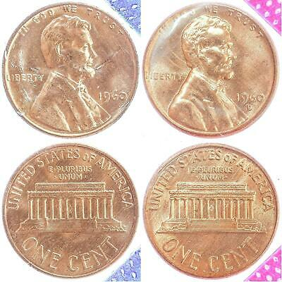 1960 P D Lincoln Memorial Cent BU US Mint Cello 2 Coin Penny Set