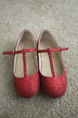 the childrens place red sparkly glitter t strap shoes 2