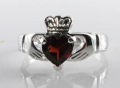 Classic 9Ct 9K White Gold Claddagh Garnet Heart Art Deco Ins Ring Free Resize