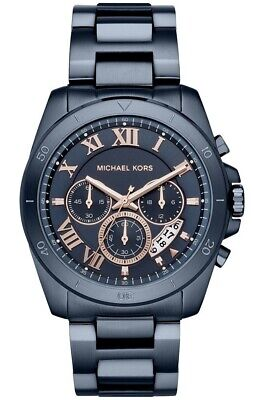 169d79fdaf56 NEW NWT MEN S Michael Kors Brecken Navy IP Chronograph Watch MK8610 ...