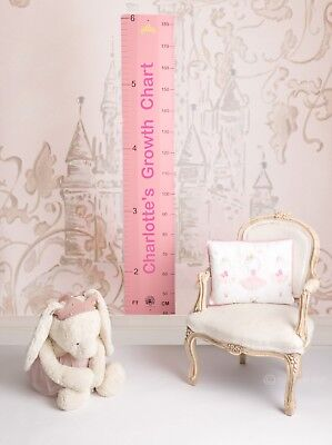 Personalised Pink Wood Wooden Height Growth Ruler Chart by Bobos Den - Gift