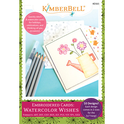 Kimberbell, Embroidered Cards: Watercolor Wishes Embroidery Cd