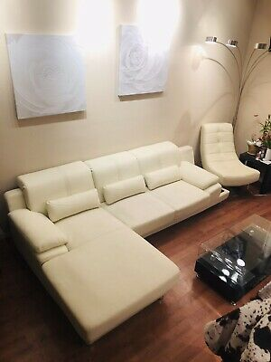 WHITE LEATHER SECTIONAL Sofa 3 Seater L Shaped Modern Living Room ...