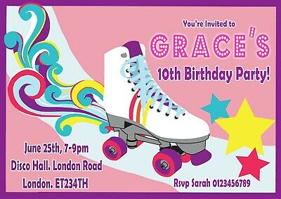 40 x Personalised Roller Skating//Disco labels//stickers//birthday//party//sweets//bag