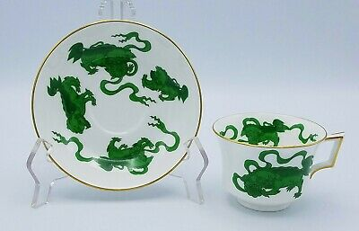 WEDGWOOD Chinese Tigers Teacup and Saucer GREEN England MULTIPLES  **MINT**