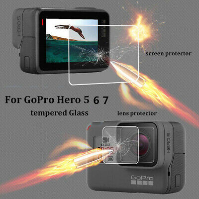 For Gopro Hero 7 6 5 LCD HD Front Film + Back Tempered Glass Screen Protector