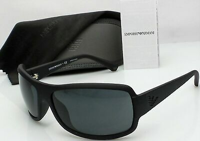 665830e4a7a Emporio Armani EA4012 5042 87 Men s Black Frame Grey Lens Wrap Sunglasses  NEW