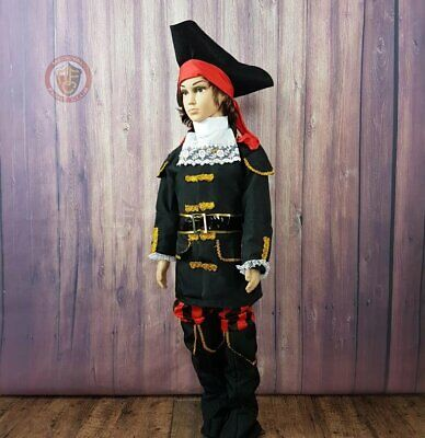 PIRATE CAPTAIN RED COAT HAT WITH BRAIDS CHILD BOYS FANCY DRESS HALLOWEEN COSTUME