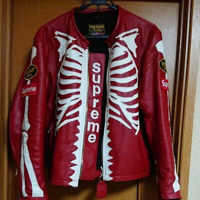 0baeb07dbc5e SUPREME X VANSON Leather Bones Jacket Size L Rare From JAPAN ...