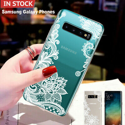 Samsung Galaxy S10+ S9 Plus Cute Case Slim Fit Clear Lace Mandala Protect Cover